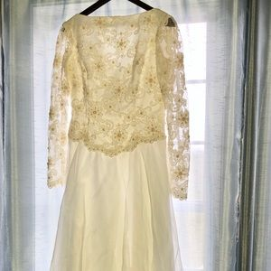 VTG sz 10 Alfred Angelo Wedding Dress Lace Sleeves